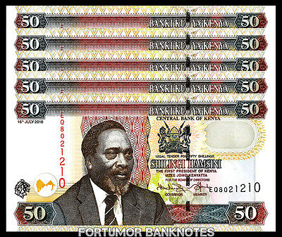 Kenya 50 Shillings 2010 Unc 5 Pcs Consecutive Lot P-47E