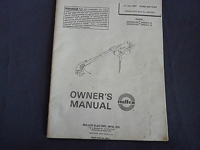 1987 Miller Welding Owner's Manual SwingArc Single 12 & 16 OM-1516F Maintenance