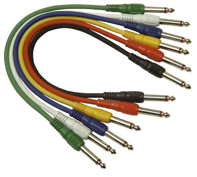 6 x 6.35mm Jack Plug to 6 x 6.35mm Jack Plug Screened Patch Leads 1m G113CC