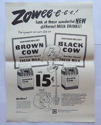 Hawthorn Mellody Farms Dairy Brown Cow Root Beer Flavored Milk (1952) [14x19]