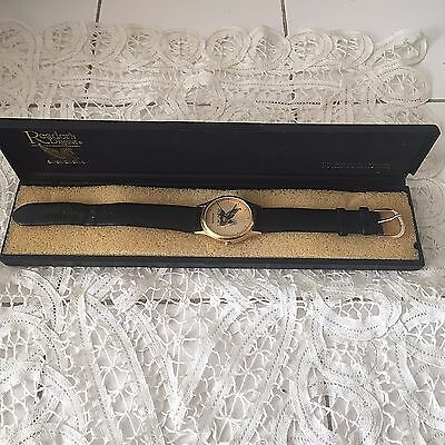 Vintage Watch Readers Digest Wittnauer Leather Band Gold Pegasus Works Fine