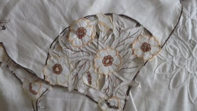 Pretty Vintage Hand Embroidered Linen Tablecloth  Floral Cutwork