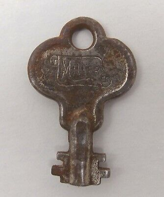 Antique MILLER No Number Lock Padlock Trunk Cabinet Chest KEY Barrel (1021-3)