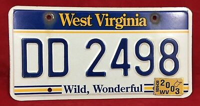 2003 Wild Wonderful West Virginia License Plate Tag DD 2498  sc 1 st  PicClick & US West Virginia License Plates Automobilia Transportation ...