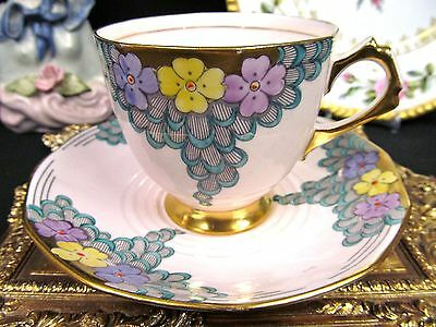 Vintage Tuscan Tea Cup And Saucer Painted Floral Gold Gilt Teacup Pattern