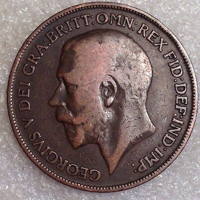 UK Great Britain 1 Penny 1918H Scarce Mint!