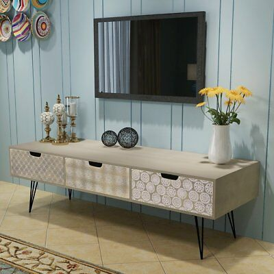 vidaXL TV Cabinet Stand Entertainment Unit Sideboard Table 3 Drawers Grey Retro