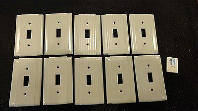 10 Ivory Vtg Bakelite Ribbed Deco Single Gang Hubbell Switch Plate Covers BB11