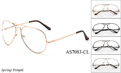 Classic Clear Lens Aviator Glasses Fake Office Nerdy Smart Retro Vintage