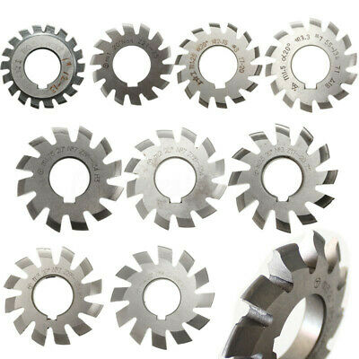 Diameter 16mm-88mm 8pcs M0.5-M10 20degree #1-8 Involute Gear Cutters HSS Module