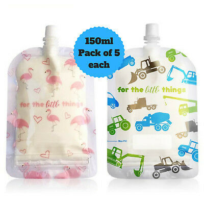 Sinchies 150ml Flamingos & Trucks Reusable Food Pouches Top Spout 10pcs