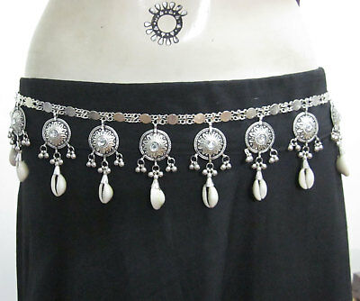 Handcrafted Metal Chain Cowrie Sea Shell BELT Womens Fashion Dress Costume Belt