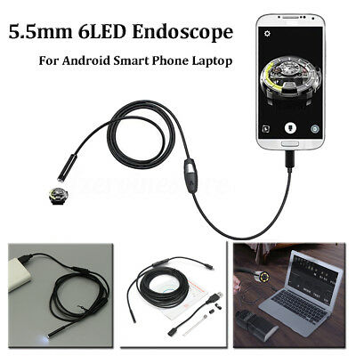 5.5mm 6LED Lens Endoscope USB Camera Borescope for Android Tablet Samsung S8 7