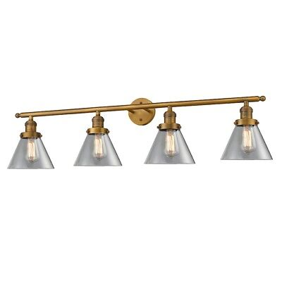 Innovations 4 Light Large Cone Bathroom Fixture in Brushed Brass - 215-BB-G42