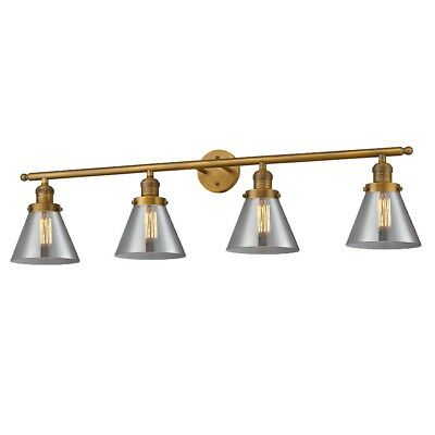 Innovations 4 Light Large Cone Bathroom Fixture in Brushed Brass - 215-BB-G43