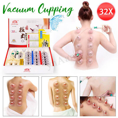 32 Peices Vacuum Cups Cupping Set Slimming Massage Magnetic Apparatus Pump New
