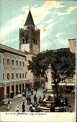 Madeira Portugal ~1900/10 Largo do Chafgaritz Vintage Postcard color Postkarte