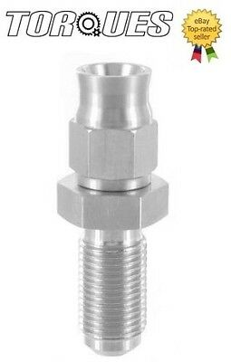 """AN-3 (3AN) 3/8""""x24 UNF Long Male Bulkhead Straight Stainless Steel Hose Fitting"""