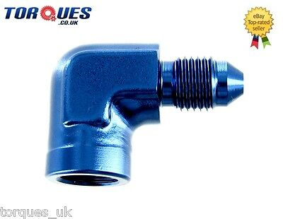 "AN -3 (AN3) to 1/8"" NPT Female 90 DEGREE Gauge Take Off Adapter"