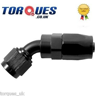 AN -6   45 Degree Fast Flow Stealth Black Hose Fitting