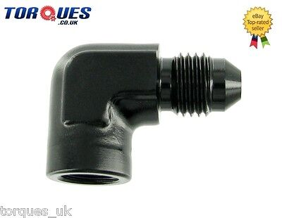 "AN -4 (AN4) to 1/8"" NPT Female 90 DEGREE Gauge Take Off Adapter BLACK"
