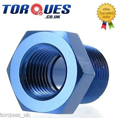 """3/8"""" NPT Male to 1/4"""" NPT Female Straight Adapter- Blue"""