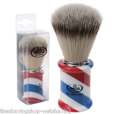 Omega Shaving Brush Barber Pole Handle with Soft High Tech Synthetic Fibers