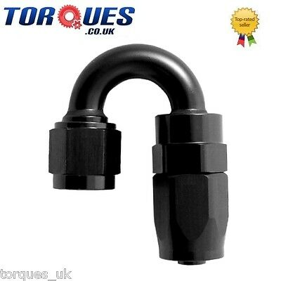 AN-4 4AN 180 Degree FastFlow Stealth Black Hose Fitting