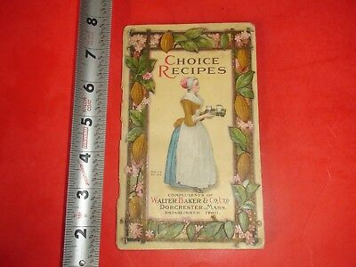 BA615 RARE Vintage 1923 Walter Baker Co Chocolate Cocoa Recipe Booklet Some Wear