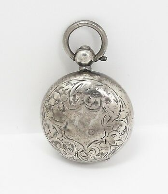 Antique c1902 Chester Sterling Silver Engraved Chatelaine Coin Holder Locket