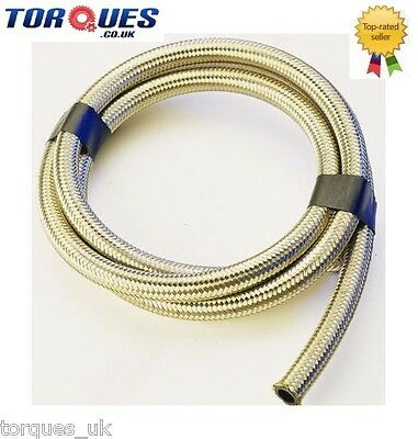 "Stainless Steel Braided Fuel Hose 8mm 5/16"" I.D - 0.5 m"
