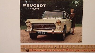 1962 PEUGEOT 404/Saloon- Dealer Sales Catalog Brochure- Very Good Condition (FR)