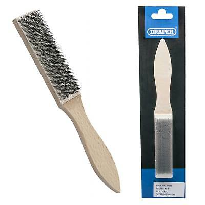 Draper File Cleaning Card Steel Wire Brush Wood Handle Maintenance/Refurbishment