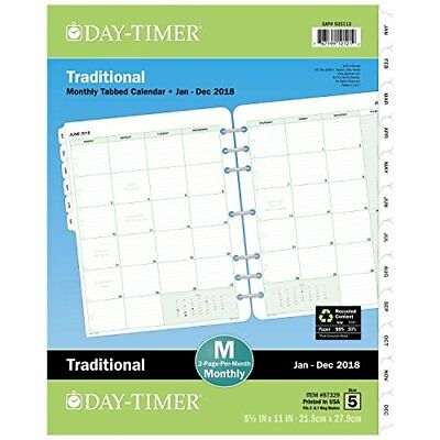 """Day-Timer Refill 2018, Two Page Per Month, January 2018 - December 2018, 8-1/2"""""""