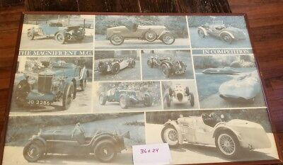 """Set of 2 Large MG Automobile Poster 36""""x24"""" 'In Competition' 'The Middle Years'"""