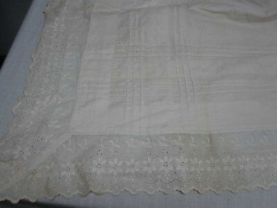 """ANTIQUE WHITE LINEN BED SHEET with EYELET FLOWER TOP EDGE 88"""" WIDE x 120"""""""