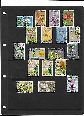 Barbados 1974 Orchids Complete Set Of 18 To $10 Sg.485-500 Fine Used