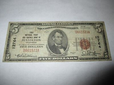 $5 1929 Fullerton California CA National Currency Bank Note Bill Ch. #12764 Fine
