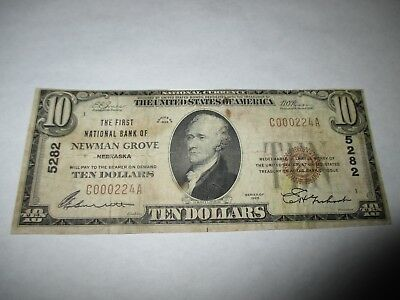 $10 1929 Newman Grove Nebraska NE National Currency Bank Note Bill #5282 Fine
