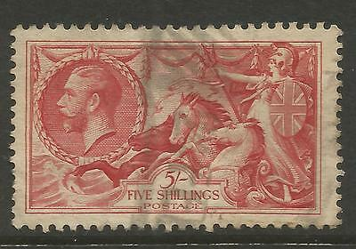 GREAT BRITAIN 1934 5/- Bright Rose Red (Bradbury Re-engraved)  S.G 451, USED (o)