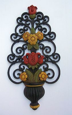 1970s Seventies Faux Cast Iron Urn with Yellow Flowers Red Tulips Wall Decor