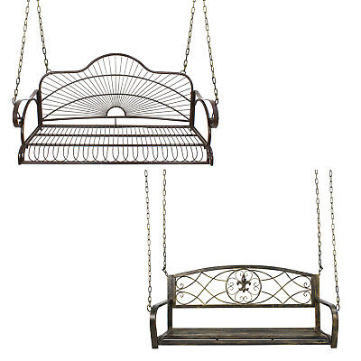 Wrought Iron Porch Swing Home Garden Patio Entertainment Haning Double Adult