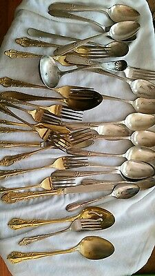 mixed silvetplate gold  spoon fork ladle lot
