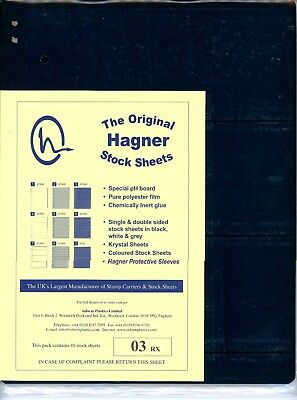 Hagner 3 Pocket Single Sided Stamp Stock Sheets Pack of 10