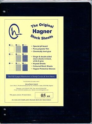 Hagner 5 Pocket Single Sided Stamp Stock Sheets Pack of 10