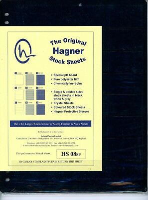 Hagner 8 Pocket Single Sided Stamp Stock Sheets Pack of 10
