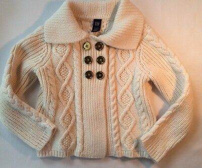 Baby Gap Ivory Cable Knit Sweater with Gold-tone Buttons Toddler Girl 3 Years 3T