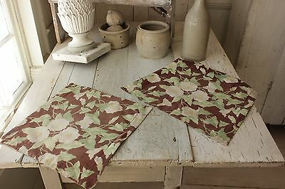 2 Antique French Arts & Crafts fabric morning glory floral pillow cases TWO
