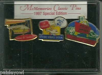 McDonalds McMemories Classic Pins 1997 Special Edition 3 Pins New in Box