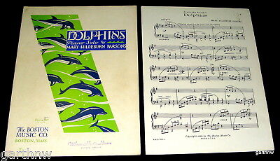 Dolphins 1932 Artwork & Music Sheet * Piano Solo Mary Hildebrun Parsons